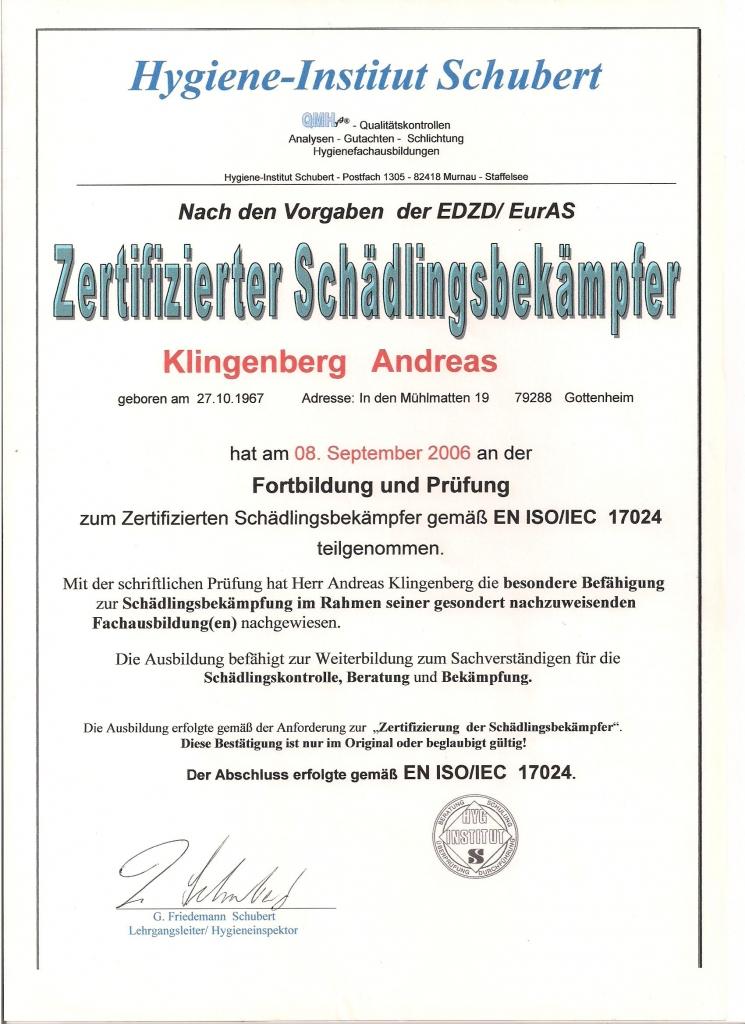 Zertifizierung nach EDZD 001